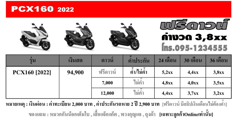 ตารางผ่อนดาวน์HONDA-PCX160-[2022]